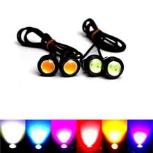 18/23 MM tipo ojo de águila para coche DRL Led luces de circulación diurna LED de respaldo 12V invertir estacionamiento señal automóviles lámparas DRL estilo de coche