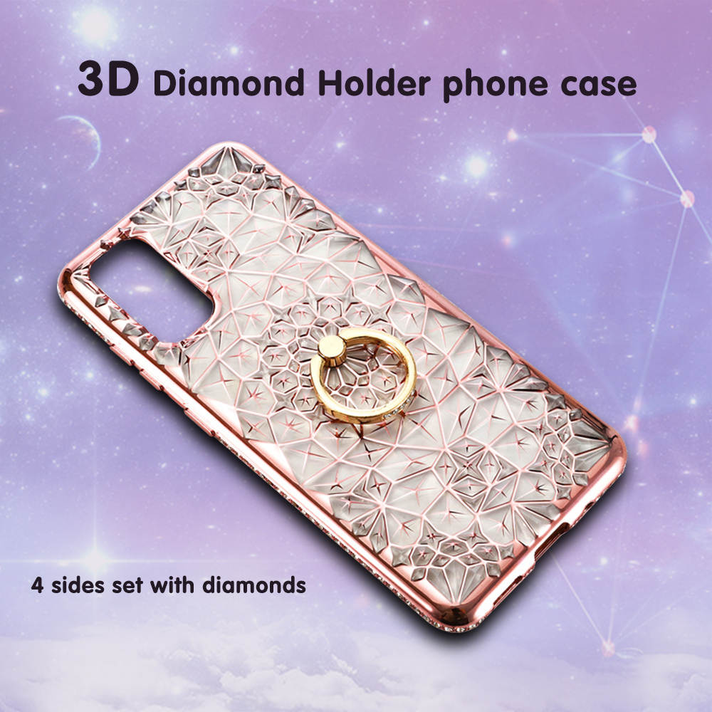 3D <font><b>Diamond</b></font> Holder Transparent phone <font><b>Case</b></font> for <font><b>huawei</b></font> <font><b>P20</b></font> P30 pro plus Glitter Flower Plating shell for <font><b>huawei</b></font> Mate 20Pro 20lite image