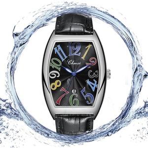 Image 4 - Fashion Luxury Brand Square Watch Men Tonneau Waterproof Business Quartz Leather Wrist Watch for Men Clock Male erkek kol saati