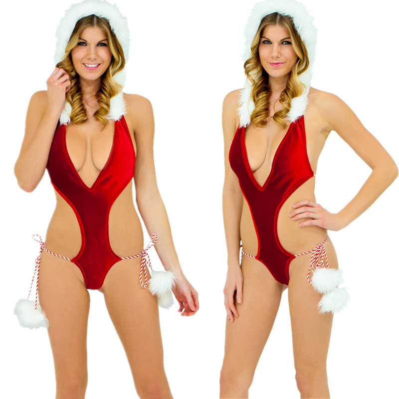 HKMN Christmas Erotic Underwear For Women Sexy Lingerie BDSM Fetish Body Babydoll Exotic Apparel Clothes With Hat A Set Lingerie