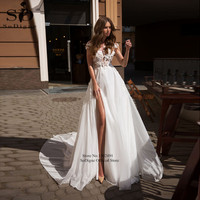 SoDigne Beach Wedding Dress Lace Appliques Sexy Split skirt Backless Bride Gown Plus Size Dress Wedding vestido de noiva