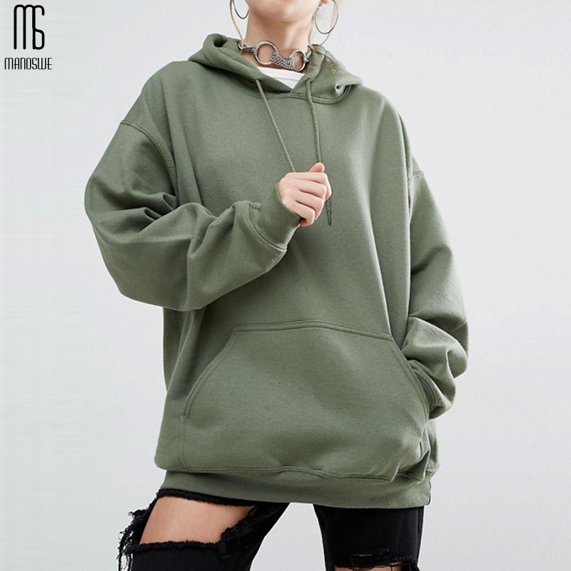 Manoswe Harajuku Women's Hooded Sweatshirt Tops Long Sleeved Solid Color Casual Sportswear Fleece Thickening Coat Oversize S-5XL