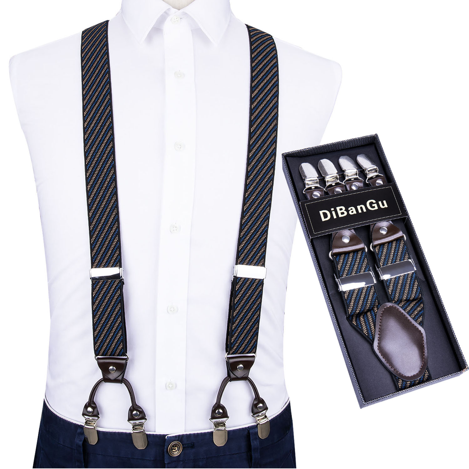 Adjustable Elasticated Adult Suspender Straps Y Shape Clip-on Men's Suspenders 6 Clip Pants Braces For Men Straps DH06 DiBanGu