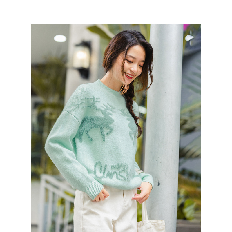 INMAN Winter Literary Jacquard Warm Knitted Women Pullover