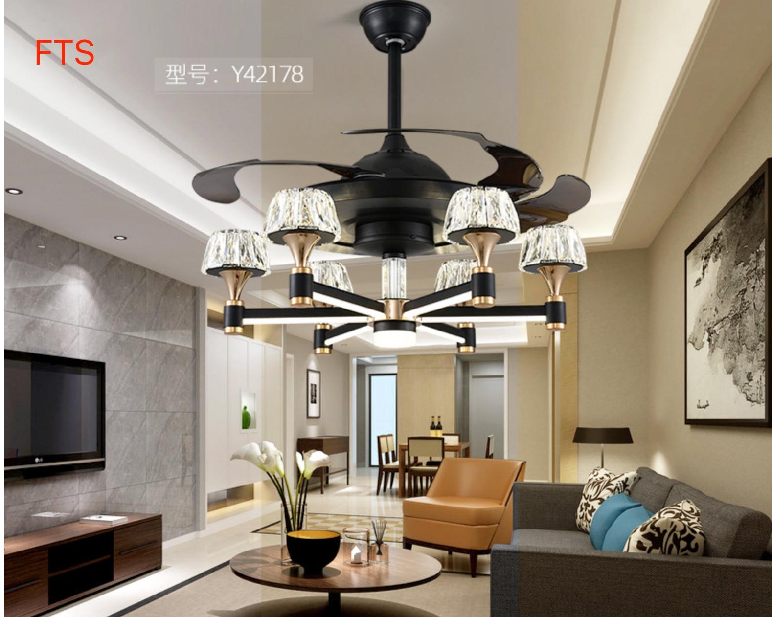 Fan Light   Invisible Chandelier Hotel Living Room Light Luxury Modern Simple Nordic Bedroom Fan Fan Chandelier Cheapest Price From Our Site