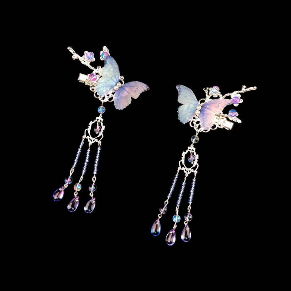 MEIFAN Purple Butterfly Crystal Beads Chinese Long Tassels Hairpin Traditional Hair Clips Cheongsam Headpiece Wedding Accessorie