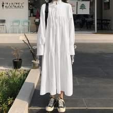 Elegante sólido plissado vestido feminino primavera vestido de verão zanzea 2021 casual puff manga maxi vestidos feminino gola alta rendas até robe