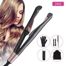 전문 2 in 1 hair curler 및 straightener in one Twist 컬링 아이언 살롱 플랫 아이언 styler Tourmaline ceramic curly