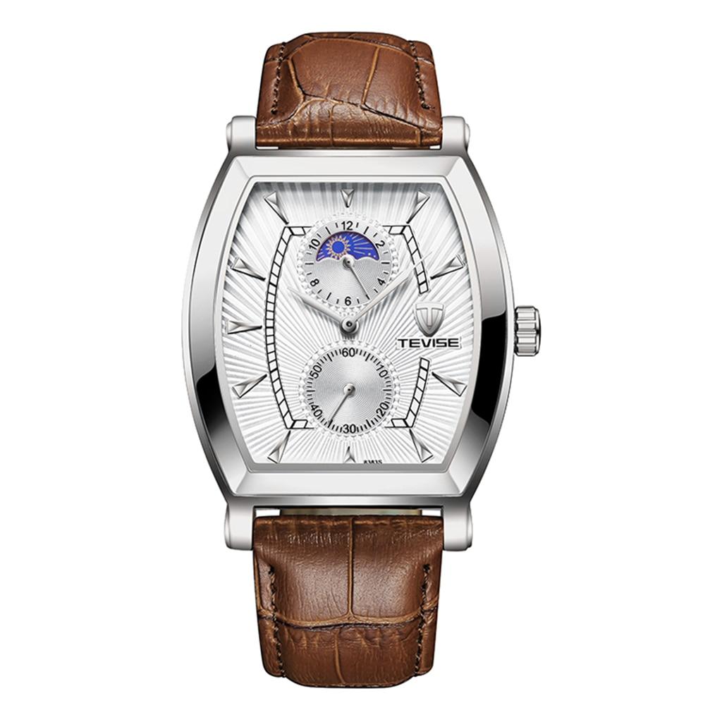 Mens Automatic Quartz Watch Waterproof Business Wristwatch Leather Band