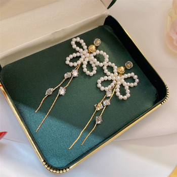 Light The Luxury of Hand Made Bow Pearl Long Earrings 14K Gold Filled Earring Jewelry For Women Best Gift