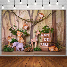 Forest Jungle Backdrop Boy Safari Birthday Party Monkey Lion Wild One Photography Background Photo Studio Props Decor Photozone