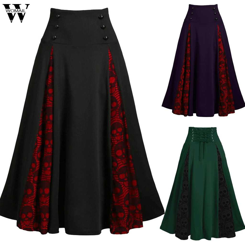 Womail Skirt Women Fashion High Waist Casual Black Skirt Lace Summer korean Steampunk Gothic Pleated Skirt Party Club Wear 925