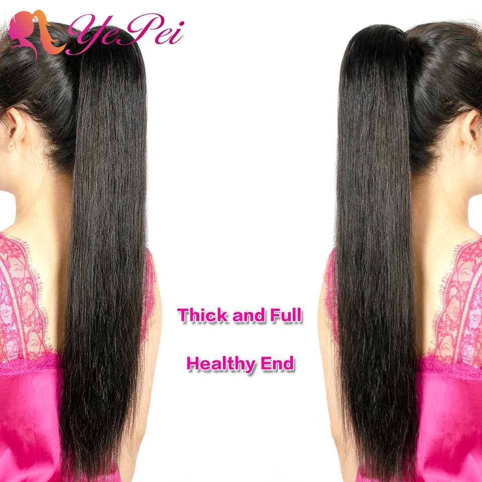 Grampo de cabelo de remy em extensões de rabo de cavalo para as mulheres cabelo humano de rabo de cavalo