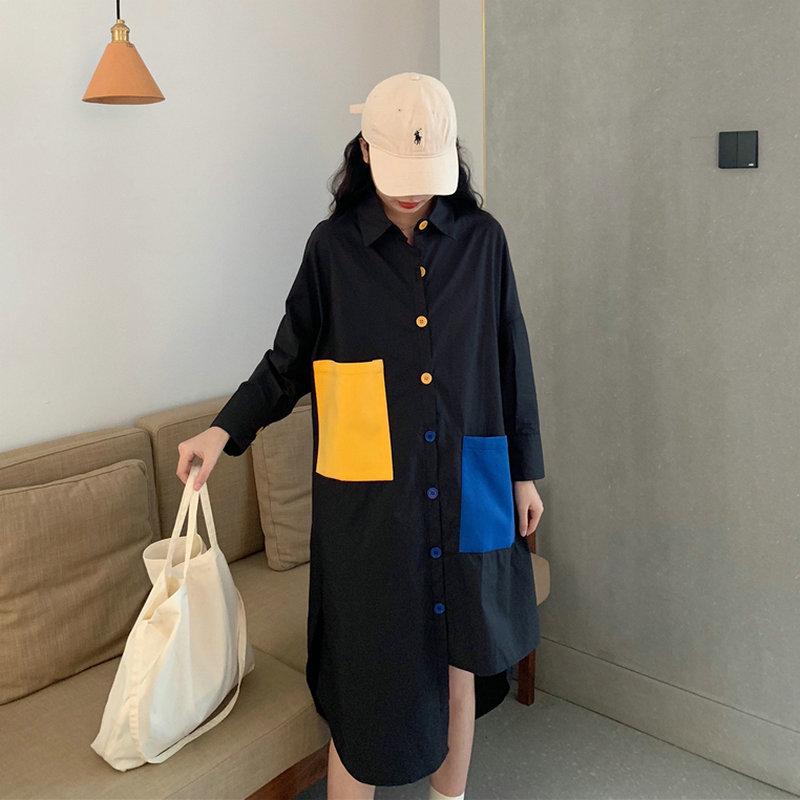 Élégant femme noir Ovesize chemise robe jaune vif grandes poches Design chemise robes femme ample coupe Style petit ami robe nouveau