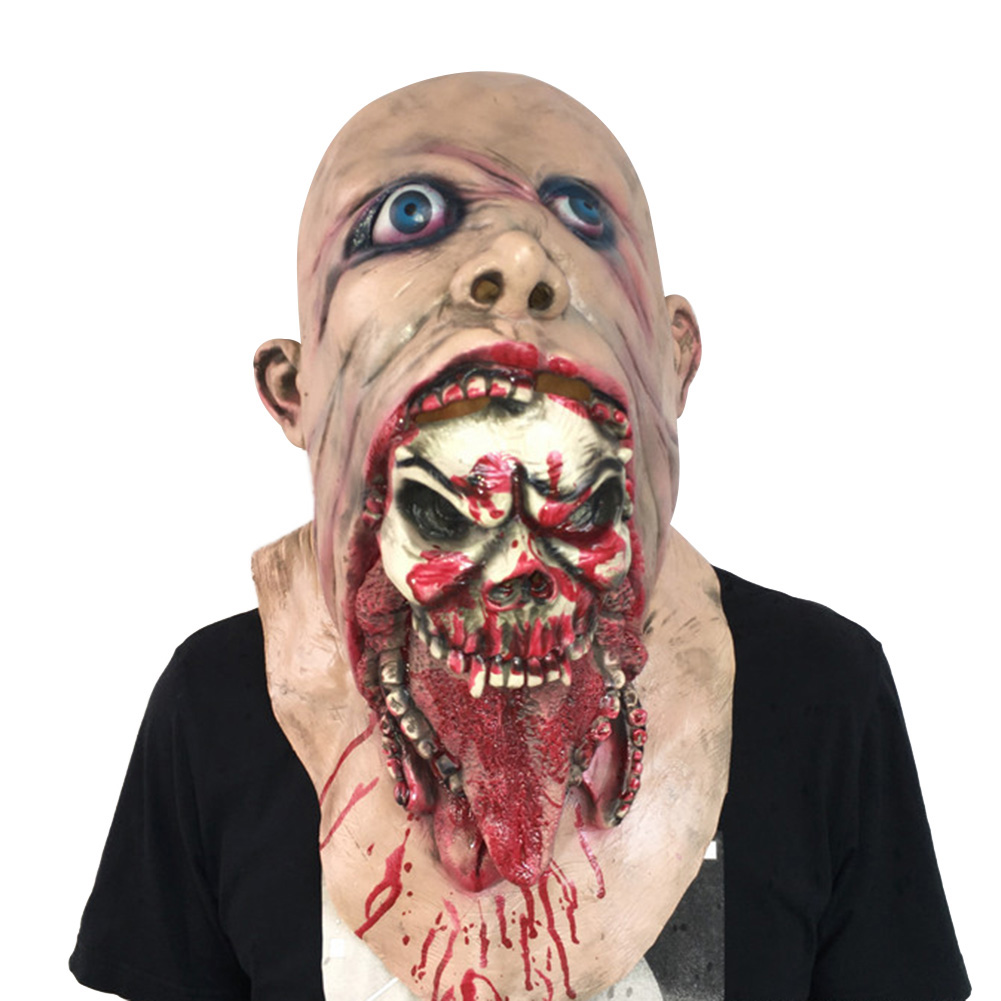 HOT SALE Melting Face Latex Adult Bloody Zombie Mask Halloween Scary Cosplay Prop Costume 4