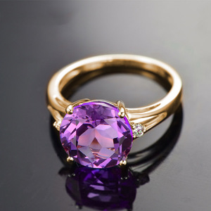 Image 2 - SLFD Natural Amethyst 18K Pure Gold 2020 New Hot Selling Top Ring Women Heart Shape Ring  For Ladies  Woman Genuine Jewelry