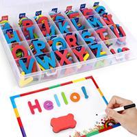 Letras magnéticas com placa de escrita e caixa de armazenamento-208 peças uppercase lowercase espuma frigorífico alfabeto ímãs brinquedo de aprendizagem