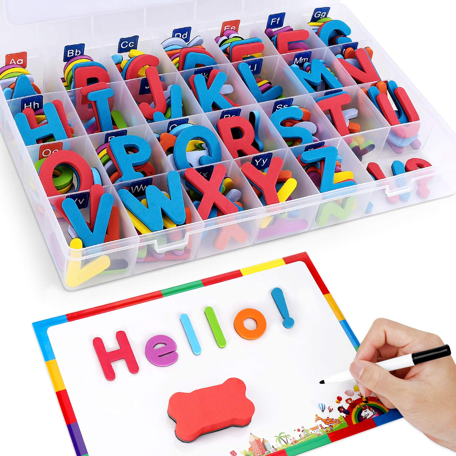 Magnetic Letters With Writing Board And Storage Box - 208 Pieces Uppercase Lowercase Foam Fridge Alphabet Magnets Learning Toy