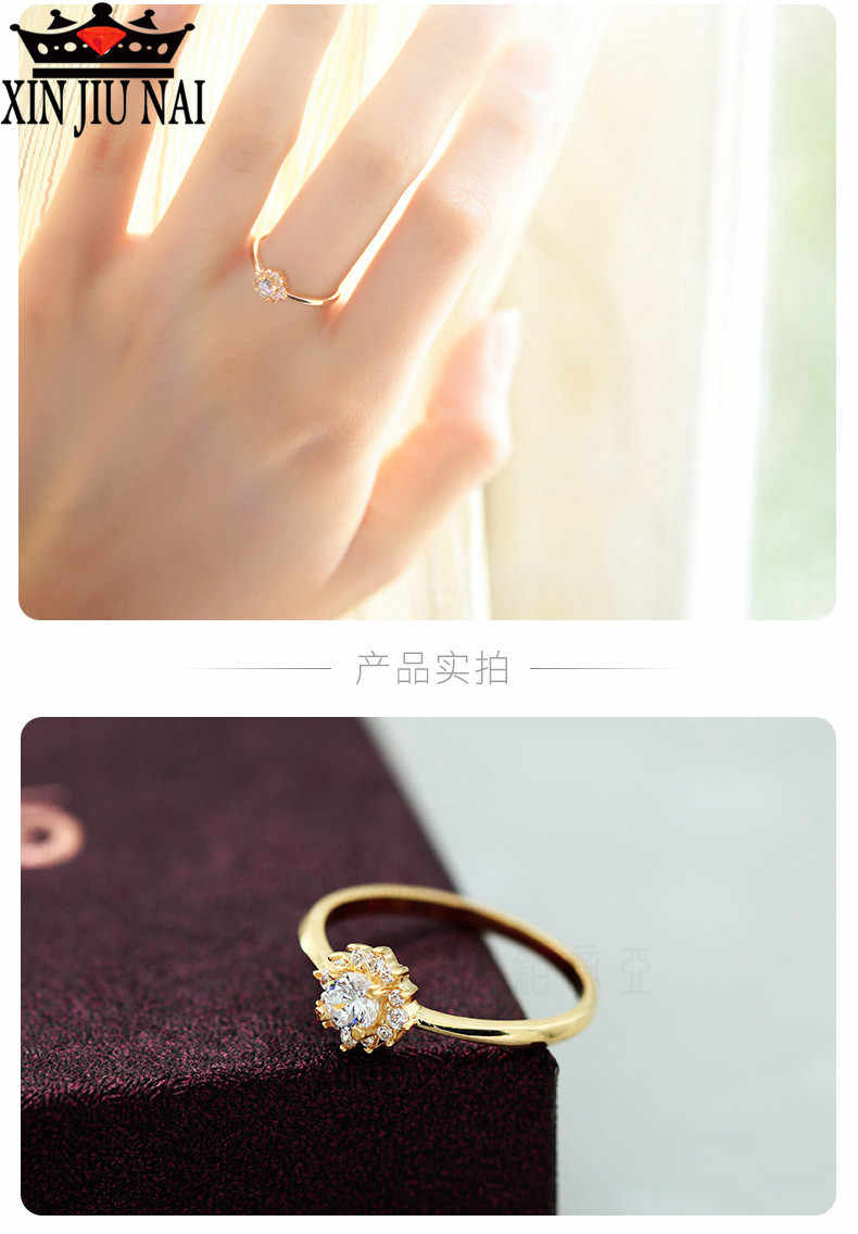 מעולה זהב זר פשוט גבירותיי טבעת זירקון תכשיטי מסיבת אופנה מתנה אלגנטי טמפרמנט נשי אירוסין חתונה טבעת