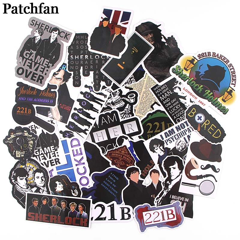 Patchfan 32pcs Sherlock Kids Toy Stickers Pack For DIY Scrapbooking Album Car Luggage Phone Notebook Decals Waterproof A2295