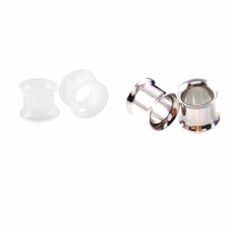 2 ペア鋼 SiliconEar 肉トンネルプラグイヤリングのない糸ダブルフレア中空ネジ耳パンダゲージボディジュエリー