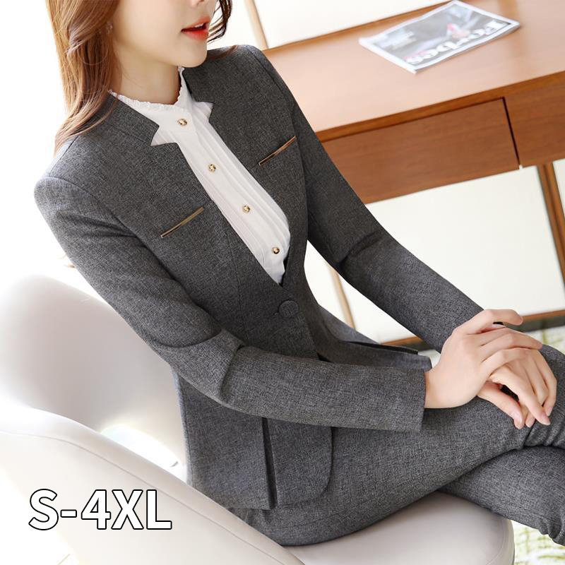 2020 Hot Sale Womens Formal Suits Female Uniform Elegant Business Pants Suits Women Workwear Office Pant Suits