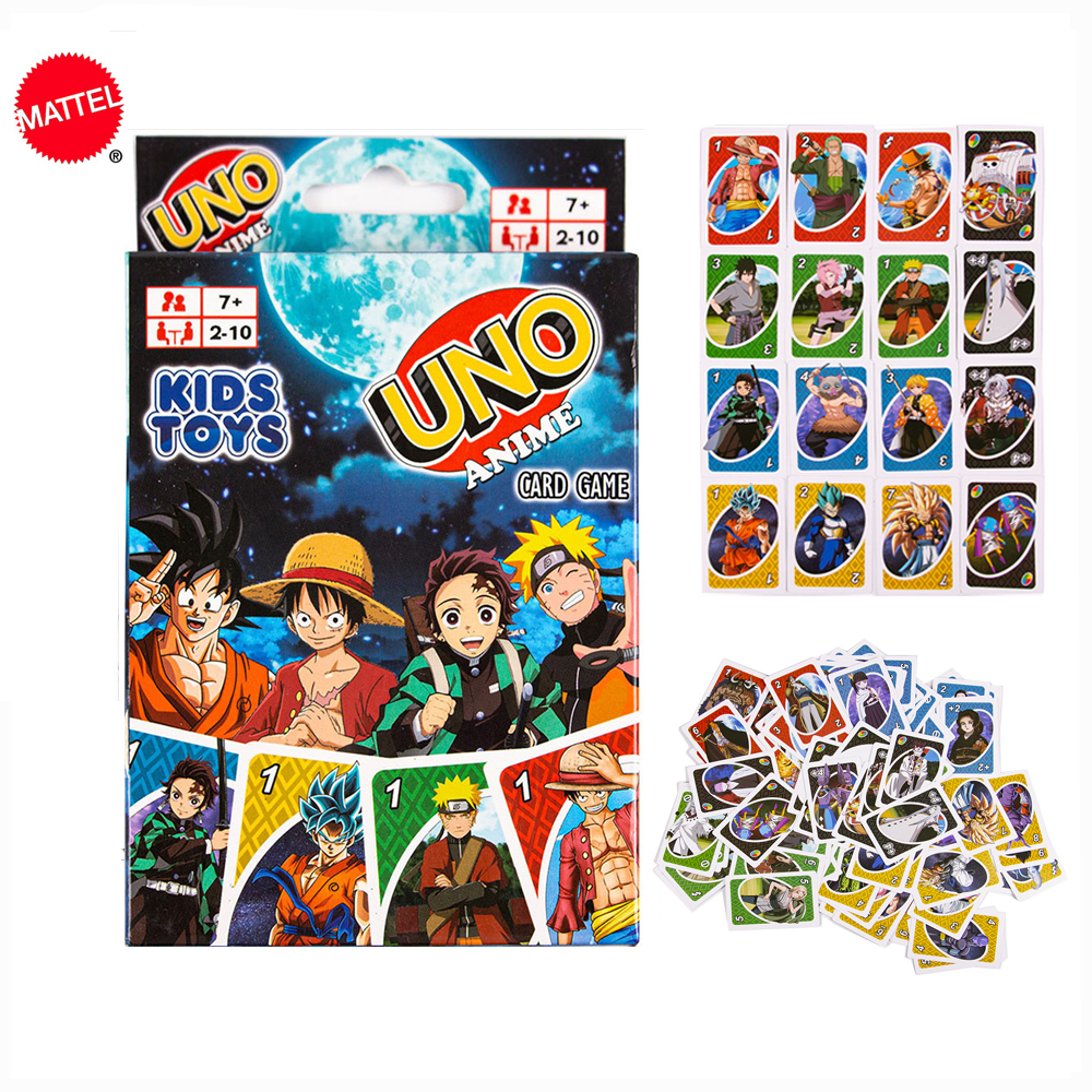 Mattel карточные игры UNO аниме Рисунок Одна деталь Fun покер Семья вечерние Настольная игра карты вечерние игрушки