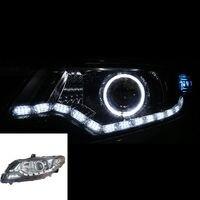 For Honda City 2009 2010 2011 2012 Auto Headlight Assembly with Xenon High Light+Angle Demon Halo LED Light Stripe