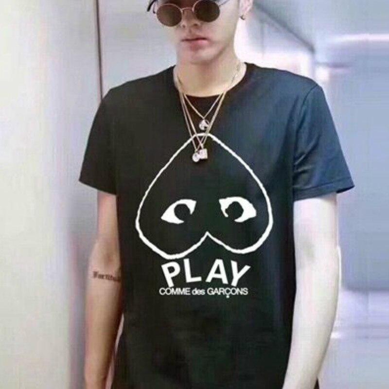 Funny Hear Face Play Tshirts Men Women T Shirt CDG Letter Hip Hop Fashion Short Sleeve Cotton 1:1 Shirts Casual Summer Tops Tees