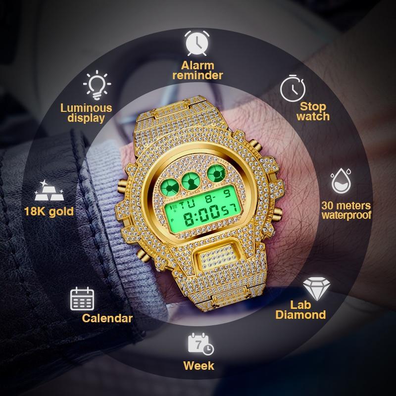 Relogio Masculino MISSFOX Men's Watches Luxury LED Digital Quartz 18K Gold Watch Men G Style Shock Proof AAA Male Wrist Watches