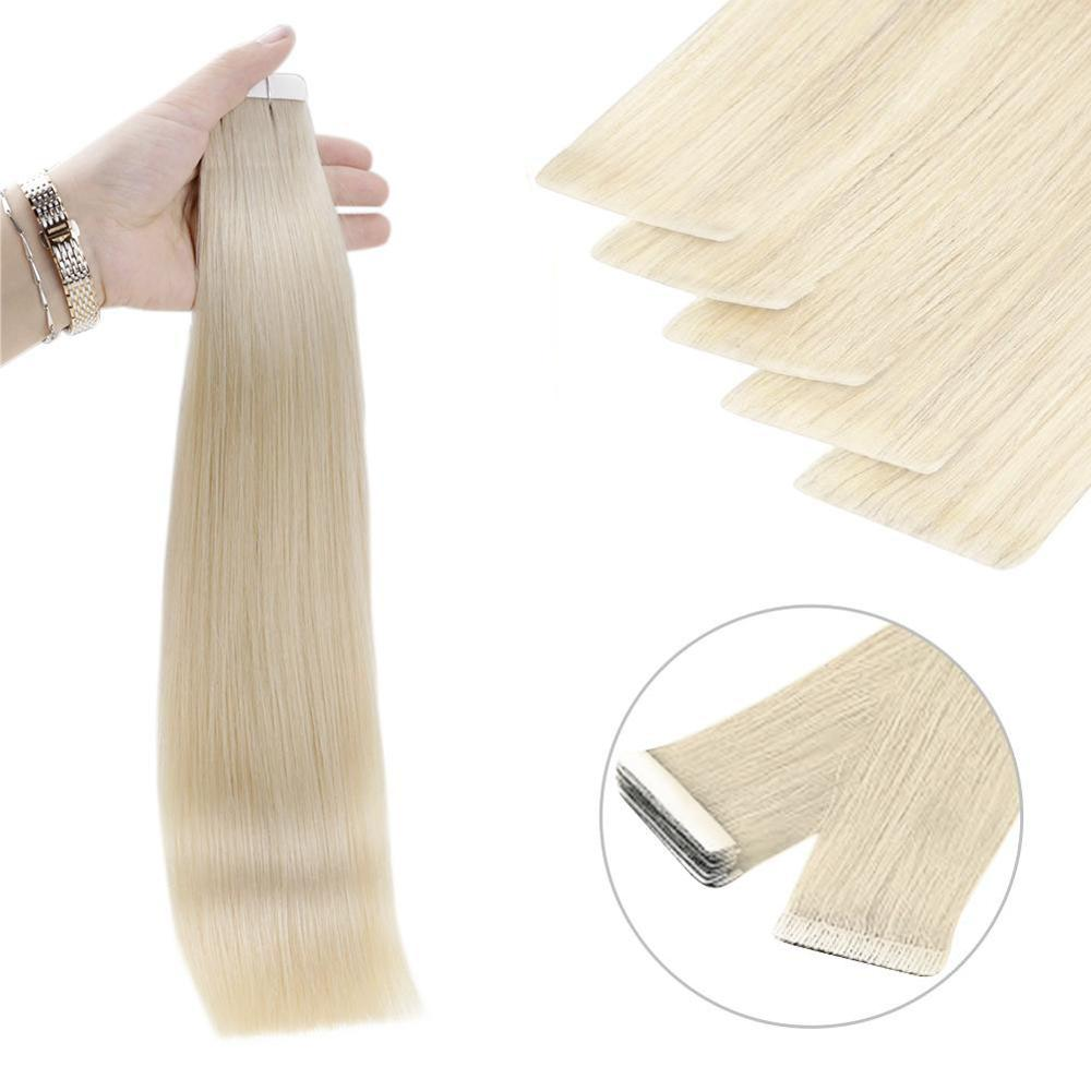 Tape newnewugeat dupla fita desenhada em extensões de cabelo humano remy invisível trama da pele cabelo natural em linha reta rejeição cabelo 2.5 g/peça