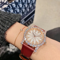 Waterproof Real Leather Women High Jewelry Watches Crystals Flower Watch Quartz Shell Face Sunflower Wrist watch High end Gift