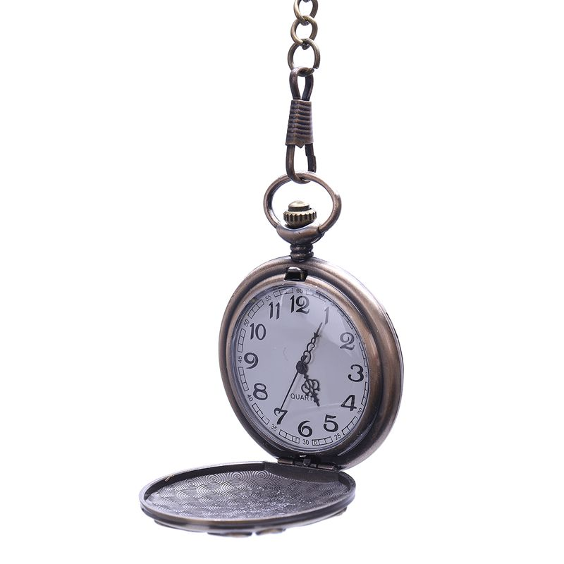Retro European And American Style Bronze Animal Totem Large Thick Chain Pocket Watch