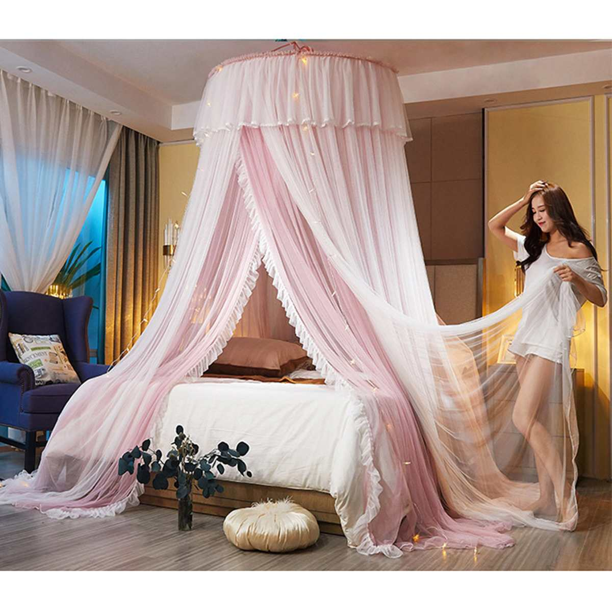 Hanging Dome Mosquito Net Bed Canopy Romantic Double Layer Yarn Bed Valance Anti-mosquito Home Textiles Decor Bedcover Curtain