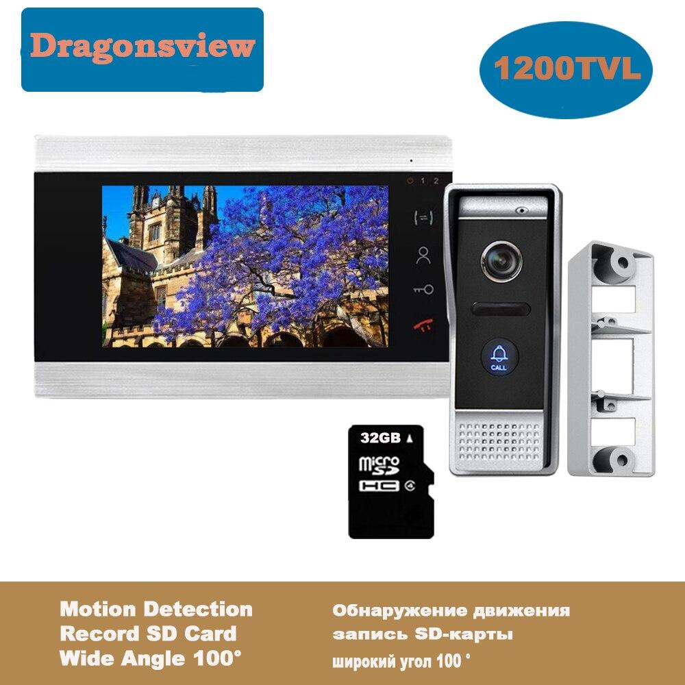 Sistema de videoportero Dragonsview, Monitor de 7 pulgadas con cámara para timbre, 32GB, tarjeta SD, vídeo, puerta, teléfono, Kits de seguridad para desbloqueo Videoportero Dragonsview de 7 pulgadas con bloqueo para puerta de vídeo, timbre de puerta, cámara, botón de desbloqueo, visión nocturna, impermeable