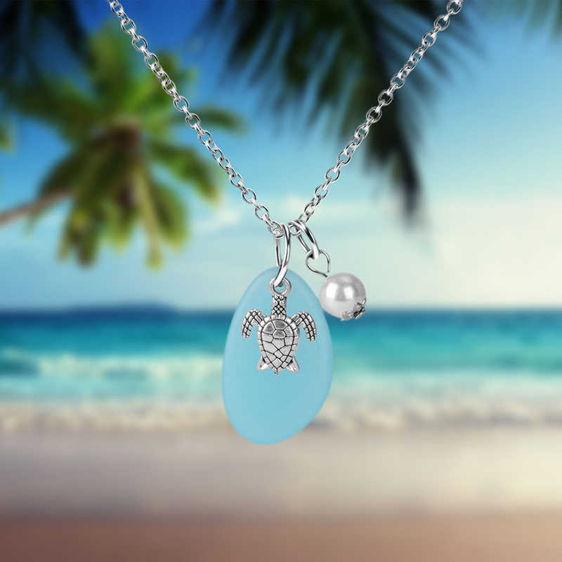 Silver Sea Turtle Pendant Necklace for Women Cute Animal Long Chain Necklace Wedding Ocean Beach Jewelry Gift