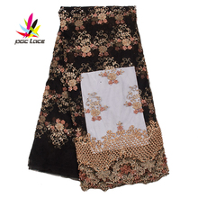 цена на Handmade Beaded Lace Sequence Fabric Lace for Africa Party Royal Wedding Dresses Pearl Chiffon Flower AMY2576B
