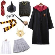 Çocuklar yetişkin Potter kostüm Granger parti giysileri pelerin Hermione okul üniforması kadın erkek çocuklar cadılar bayramı kostüm