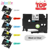 Labelife 1PC TZe211 tze Laminated tapes Tze-611 Black on White tz111 TZe411 Compatible for Brother P-touch Label Printer PT-D200