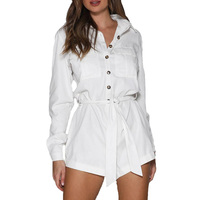 2019 autumn jumpsuit women casual lace up womens clothing long sleeve rompers womens jumpsuit white bodysuit women