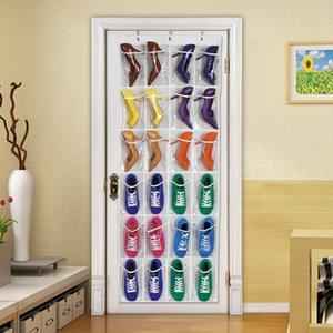 24 Grid Over Door Hanging Organizer Convenient Storage Holder Rack Closet Shoes Keeping 4 inch width for each pocket