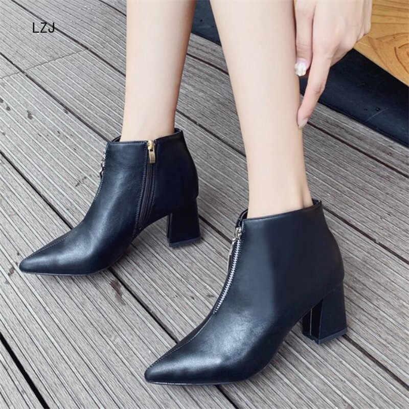 LZJ 2019 Inverno Nova Moda Com Belas Pontas Do Dedo Do Pé Saltos Altos Martin Botas Bege Botas de Couro Botas de Tornozelo das Mulheres botas