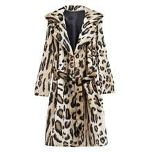 Leopard Print Long Wool Pellet Coat