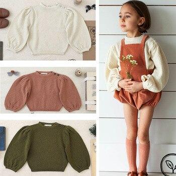 Soor Ploom infantes niñas invierno Puff manga suéteres niños moda de punto cuello redondo suéteres niños niñas sólido Pullover