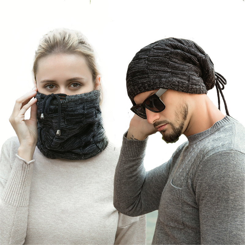 Thick Warm Knit Hat Men's Beanies Winter Hats For Women Ponytail Beanies Bonnet Skullies Neck Warm Loop Outdoor Scarf Ring Mask