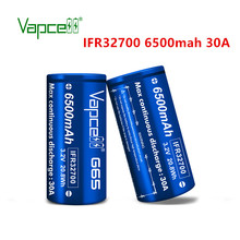 Free shipping Vapcell original IFR 32700 6500mah 30A G65 Lifepo4  3.2V battery for Flashlight/power tools rechargeable batteries