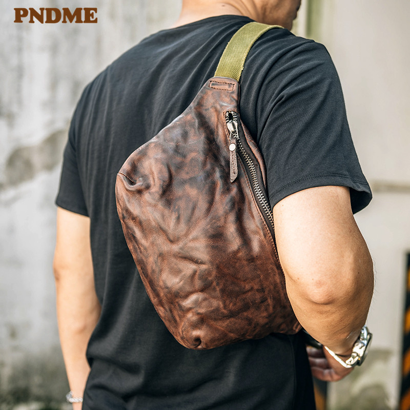 PNDME Fashion Vintage Genuine Leather Men's Chest Bag High Quality Soft Cowhide Teens Pleated Waist Pack Casual Simple Fanny Bag