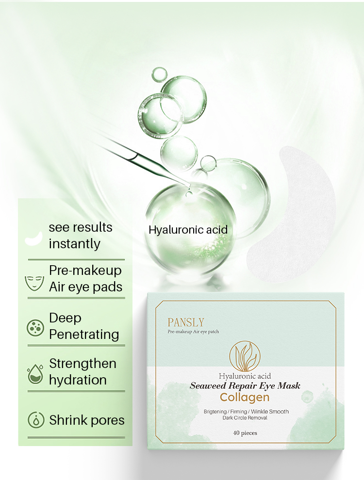 Pansly 40pcs Seaweed Collagen Eye Mask Patches Repair Dark Circle Anti Wrinkle Moisturize Hydrate Firming hydrogel Eyes Patch
