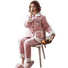 Winter Thick Pink Sweet Flannel Girl Pajamas Set Lapel Open Buckle Quilted Comfort Home Clothes все цены