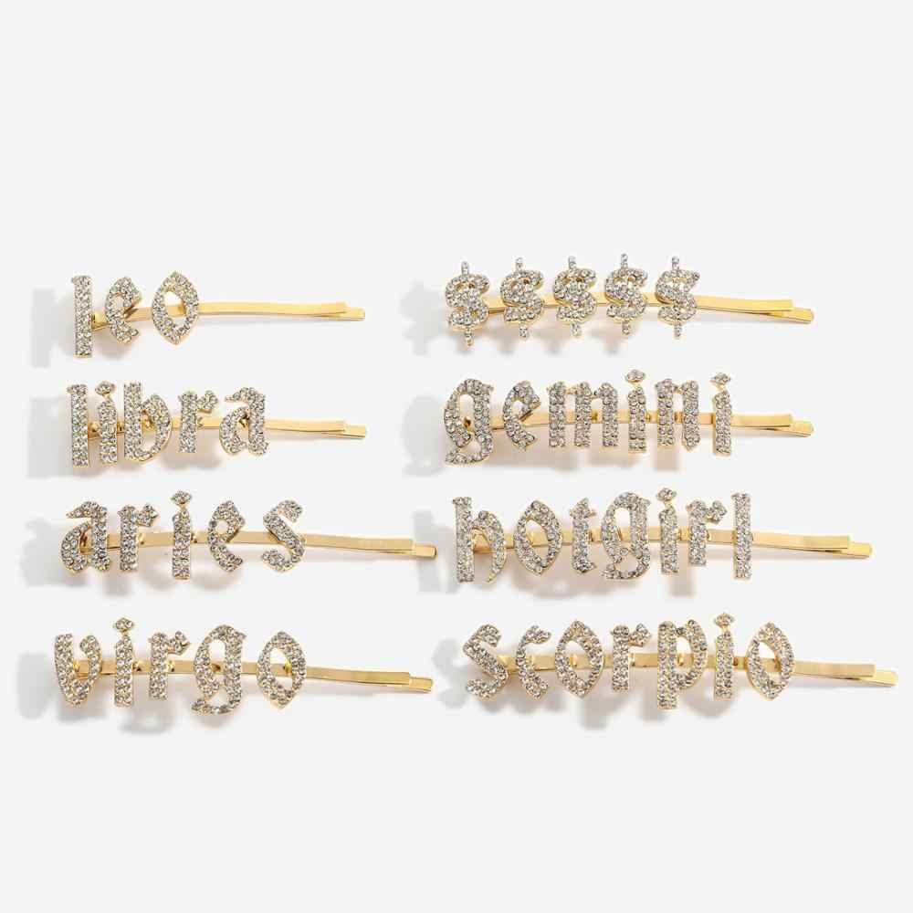 Bling brief Haarnadeln name haarnadel Strass Gepflasterte 12 sternzeichen haar pins und clips Hochzeit Kristall Bling Braut Styling Haarspange